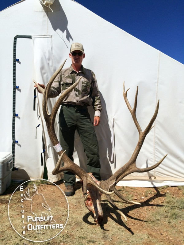 Exclusive Pursuit Outfitters' guide, Logan Anderson, posing with this 400 massive Arizona Archery Bull Elk.